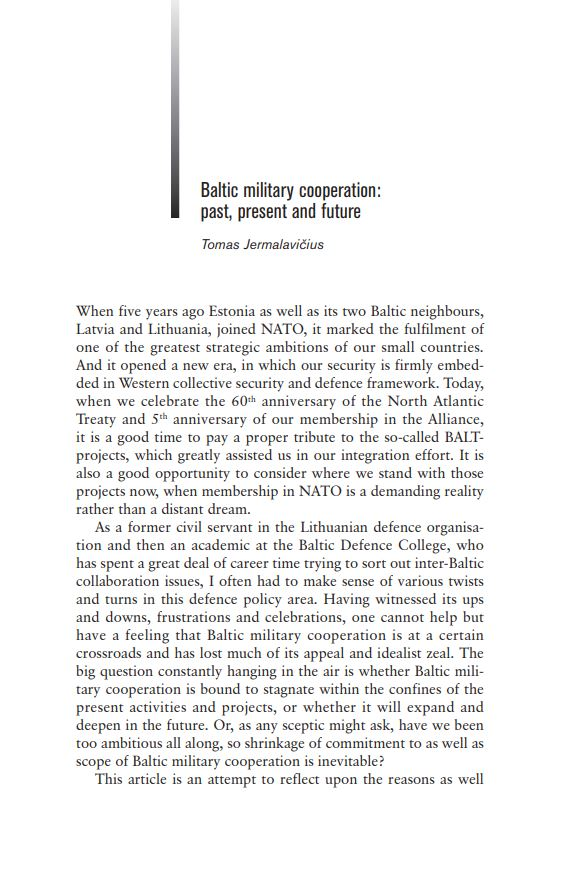 Image for Baltic military cooperation: past, present and future