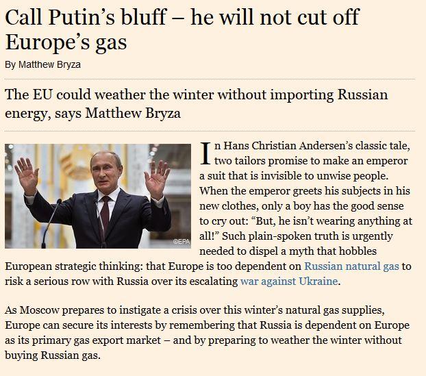 Image for Direktor Bryza Financial Timesis: bluffige Putin maagaasi kohalt üle