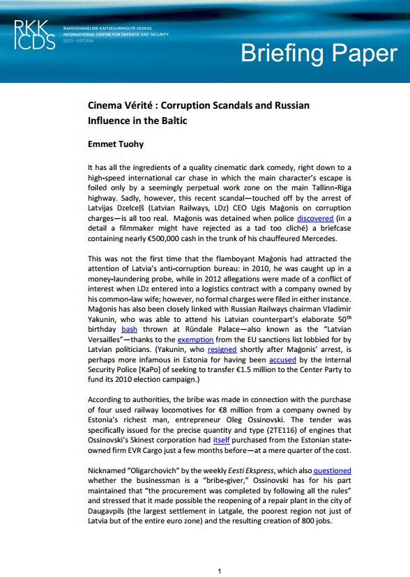 Image for Cinema Vérité : Corruption Scandals and Russian Influence in the Baltic