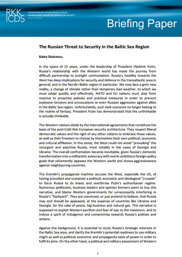 Image for The Russian Threat to Security in the Baltic Sea Region