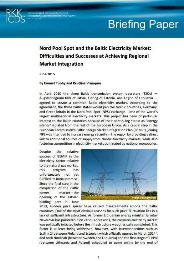 Image for Nord Pool Spot and the Baltic Electricity Market: Difficulties and Successes at Achieving Regional Market Integration