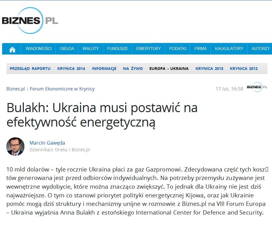 Image for Bulakh: Ukraina peab püüdlema energiatõhususe poole (poola keeles)