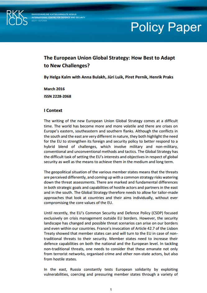 Image for The European Union Global Strategy: How Best to Adapt to New Challenges?