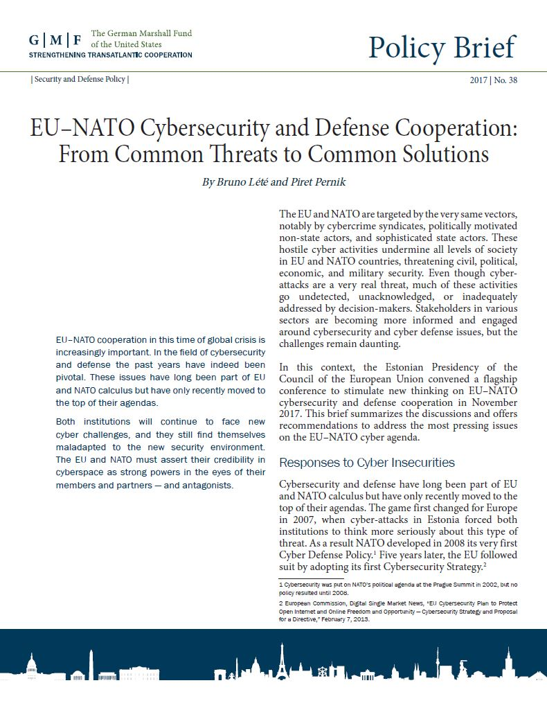 "Image for Policy Brief ""EU-NATO Cybersecurity and Defence Cooperation: From Common Threats to Common Solutions"""