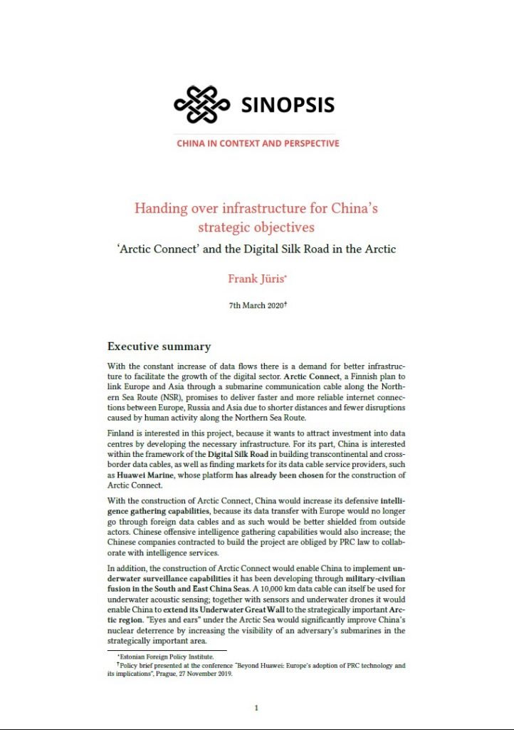 Image for Handing over Infrastructure for China's Strategic Objectives: 'Arctic Connect' and the Digital Silk Road in the Arctic