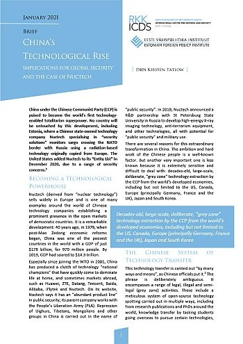 Image for China's Technological Rise: Implications for Global Security and the Case of Nuctech