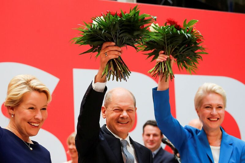 Party leadership meeting of the Social Democratic Party (SPD) after German general elections, in Berlin. SPD top candidate for chancellor Olaf Scholz in the middle.