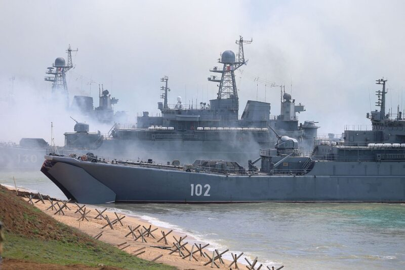 Russian forces landing a shore during a military drill along the Opuk training ground not far from the town of Kerch, on the Kerch Peninsula in the east of the occupied Crimea. The announcement by Russia's Defence Minister, Sergey Shoygu, on 22 April that Russia would be withdrawing the forces it had assembled for the 'snap exercises' launched on 7 April has been met by as much confusion as relief.