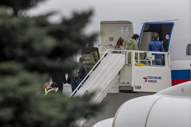 People board the Russian special government plane at the Vaclav Havel Airport in Prague, Czech Republic, 19 April 2021. According to the findings of the Czech security forces, there is reasonable suspicion that members of the Russian secret service GRU were involved in the explosion of the ammunition complex in Vrbetice in 2014. Foreign Minister Jan Hamacek expelled all diplomats who were identified as members of the Russian secret services GRU and SVR, some 18 people.