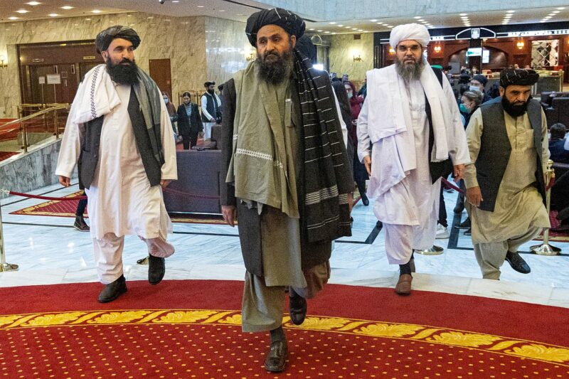 Mullah Abdul Ghani Baradar, the Taliban's deputy leader and negotiator, and other delegation members attend the Afghan peace conference in Moscow, Russia in March 2021.