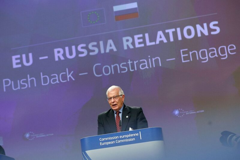 EU-Russia relations: push back-constrain-engage. European High Representative of the Union for Foreign Affairs, Josep Borrell speaks during a news conference on EU-Russia relations at the European Commission headquarters, in Brussels, in June 2021.